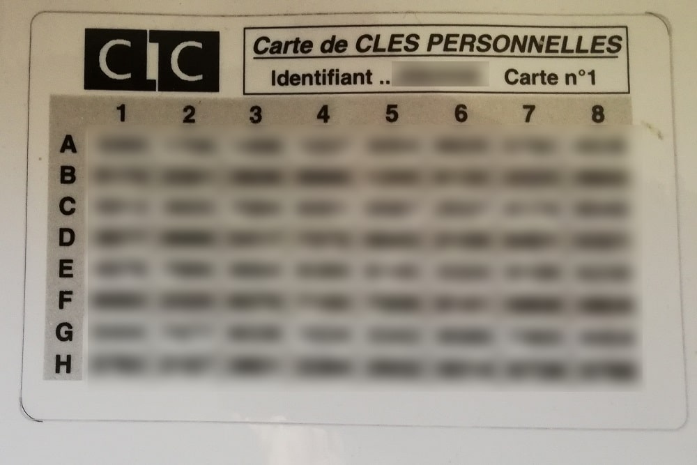 carte de clefs personnelles CM-CIC